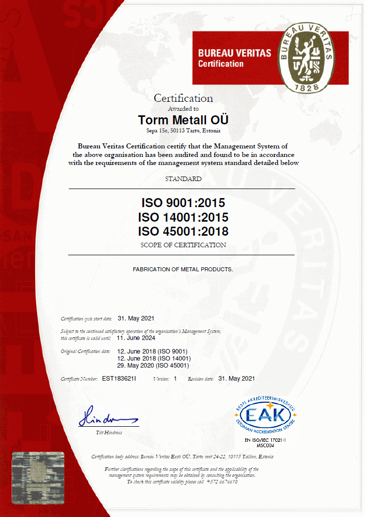 ISO 9001:2015<br>ISO 14001:2015<br>ISO 45001:2018